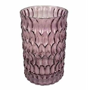Ваза стеклянная розовая 20 см
