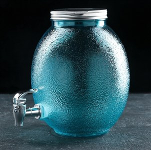 Лимонадник стеклянный на 4 литра синий