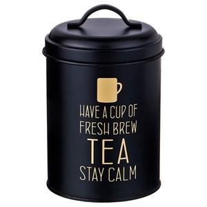 """Банка для хранения """"Чай"""" металлическая 1100 мл черная"""