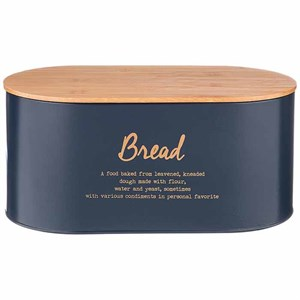 Хлебница металлическая темно-синяя 34х18 см