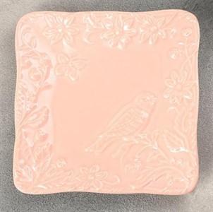 """Блюдо """"Птица"""" 16х16 см розовое"""