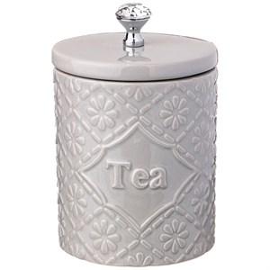 """Банка керамическая для хранения """"Чай"""" 800 мл серая"""