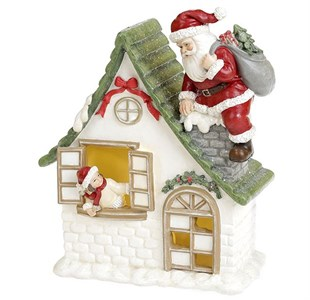 Домик с Дедом Морозом с подсветкой