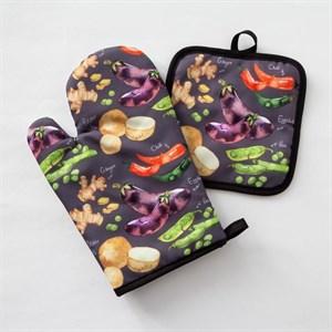 """Кухонный набор """"Овощи"""" из прихватки и варежки"""