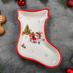 "Блюдо новогоднее ""Дед Мороз с подарками"" 20х15 см"