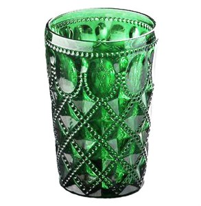 """Стакан """"Кружево"""" зеленый 400 мл из цветного стекла"""