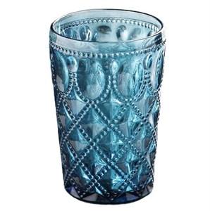 """Стакан """"Кружево"""" синий 400 мл из цветного стекла"""