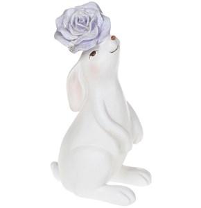 """Статуэтка """"Заяц с фиолетовым цветком"""""""