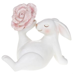 """Статуэтка """"Заяц с розовым цветком"""""""