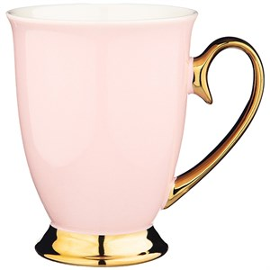 Кружка светло-розовая с золотой ручкой, 320 мл