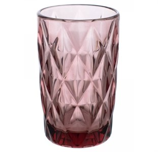 """Стакан """"Клетка"""" 350 мл розовый из цветного стекла"""