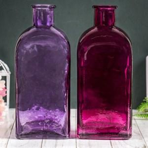 Ваза-бутылка стеклянная розовая/малиновая, цена за штуку
