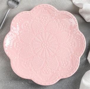 """Тарелка """"Кружево"""" 20 см розовая"""