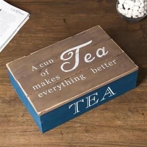 Шкатулка для чайных пакетиков на шесть отделений синяя