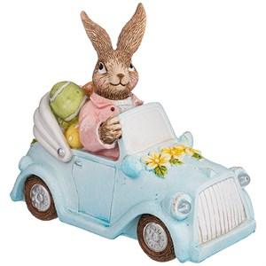 """Статуэтка """"Пасхальный кролик на машине"""""""