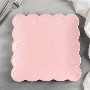 "Тарелка ""Кружево"" 26х26 см розовая"