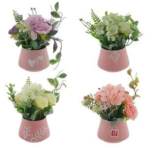 Цветок искусственный в розовом кашпо, цена за штуку