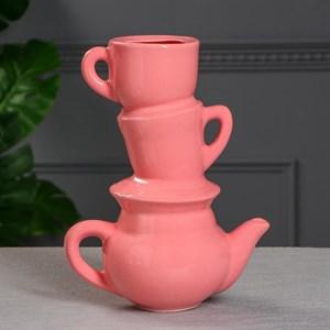 """Ваза """"Чайный сервиз"""" розовая"""