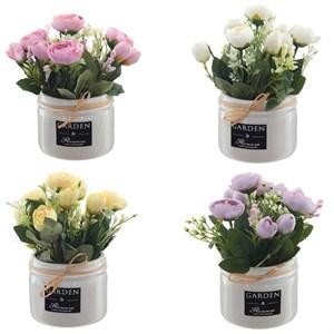 Цветы искусственные в белом кашпо, цена за штуку
