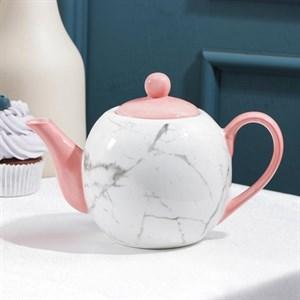 "Чайник заварочный ""Мрамор"" розовый 800 мл"