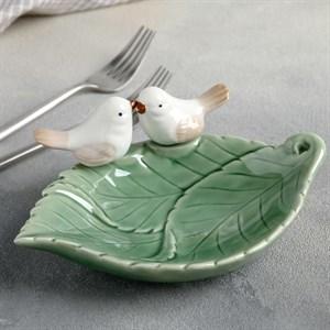 "Блюдо-подставка ""Птицы на листочке"" 19х16 см"