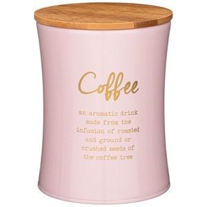 """Банка для хранения """"Кофе"""" 1100 мл металлическая розовая"""