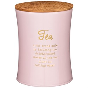 """Банка для хранения """"Чай"""" 1100 мл металлическая розовая"""