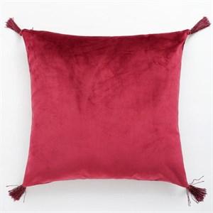 Наволочка декоративная с кисточками красная 40х40 см