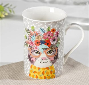 "Кружка ""Кот с цветами"" 300 мл"