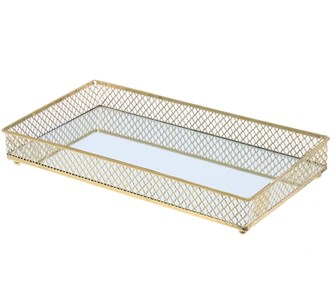 Поднос металлический со стеклянным основанием
