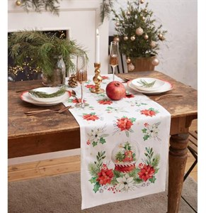 """Дорожка на стол """"Новогодние цветы"""" 40х147 см"""