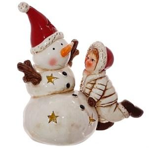 """Статуэтка """"Снеговик и ребенок"""" с подсветкой в ассортименте"""