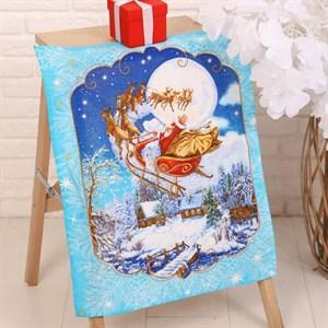 """Полотенце кухонное """"Дед Мороз на тройке лошадей"""""""