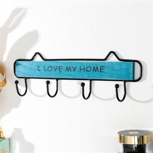 """Вешалка настенная с крючками """"Я люблю свой дом"""" синий"""