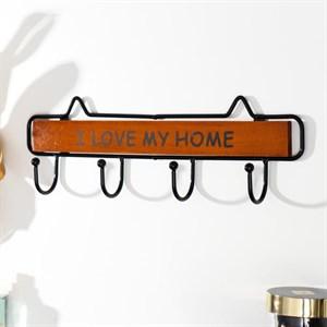 """Вешалка настенная с крючками """"Я люблю свой дом"""" коричневый"""