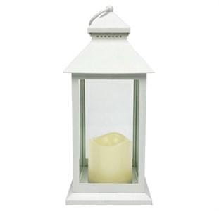 Фонарь светодиодный со свечой белый 30 см