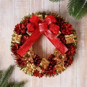 Венок новогодний декоративный 22 см
