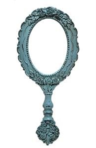 Зеркало бирюзовое с ручкой