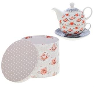 """Набор """"Розочки"""": чайник 425 мл с чашкой и блюдцем в подарочной упаковке"""