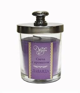 Ароматическая свеча с запахом лаванды в баночке