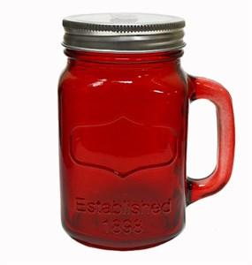 Кружка стеклянная с отверстием для трубочки красная, 460 мл