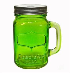 Кружка стеклянная с отверстием для трубочки зеленая, 460 мл