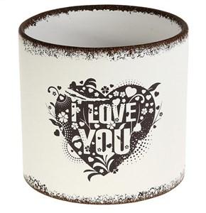 """Кашпо керамическое """"Я люблю тебя"""", 16x15 см"""