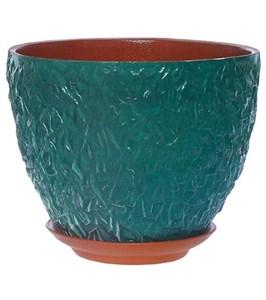 Кашпо керамическое бирюзовое 18х14 см