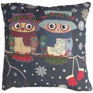 """Подушка из гобелена """"Рождественские совы"""""""