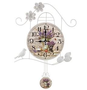 """Часы настенные металлические с маятником """"Лавандовый букет"""""""