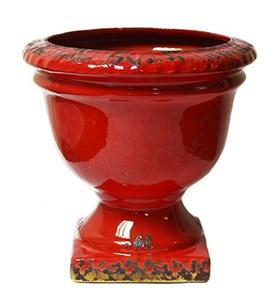 Ваза-кашпо керамическая красная