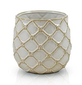 Кашпо керамическое плетеное