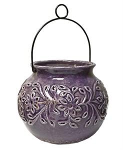 Подсвечник керамический с ручкой фиолетовый