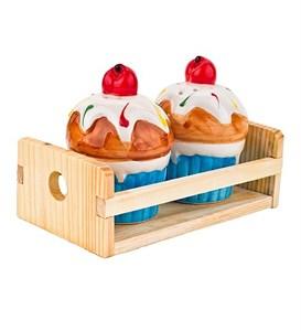 """Набор для специй """"Пирожное"""" на подставке голубой"""